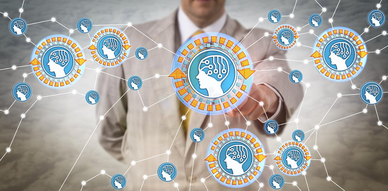 Encargado Connecting Intelligent Agents vía IoT imagenes de archivo