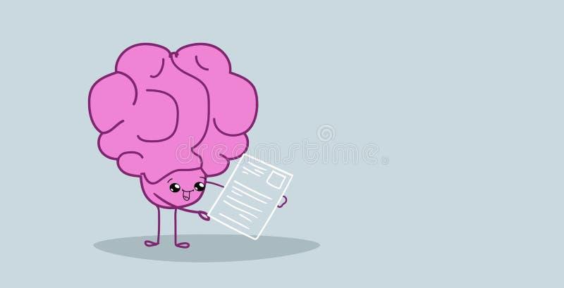Encargado de la hora del cerebro humano que analiza la historieta del rosa del concepto de la posición del trabajo del candidato  ilustración del vector