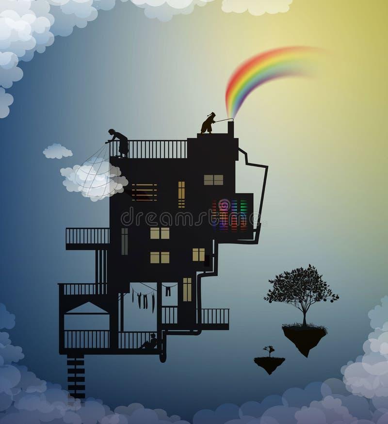 Encargado de la nube, creando el arco iris que coge la nube, casa mágica en los cielos en el país de los sueños, encargado de la  ilustración del vector