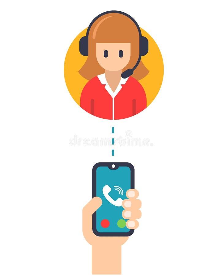 Encargado de servicio de la llamada de un teléfono móvil ilustración del vector