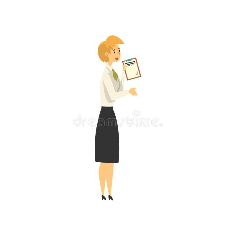 Encargado de sexo femenino Character Working en el banco, acceso público al ejemplo del vector de los servicios financieros stock de ilustración