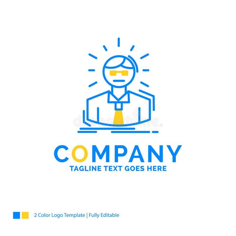 Encargado, empleado, doctor, persona, azul Busi amarillo del hombre de negocios stock de ilustración