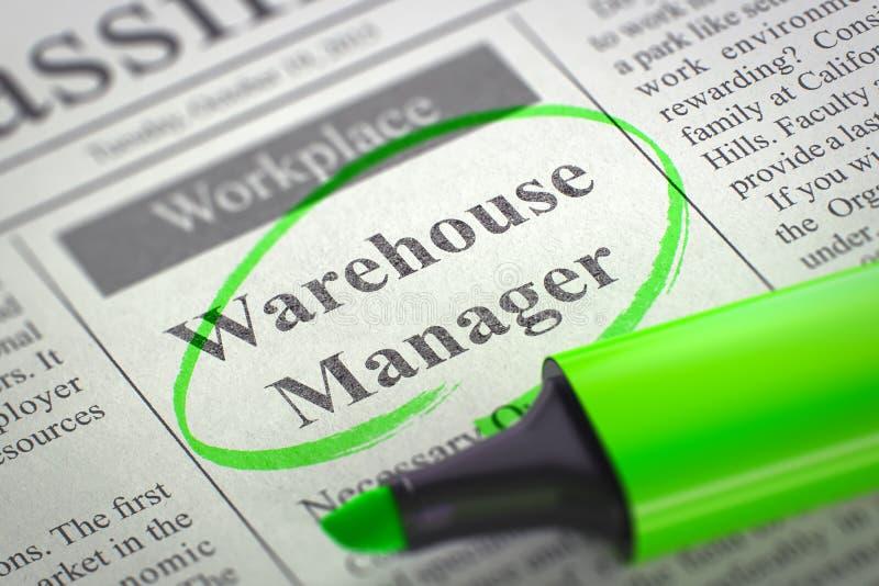 Encargado Job Vacancy de Warehouse 3d imágenes de archivo libres de regalías