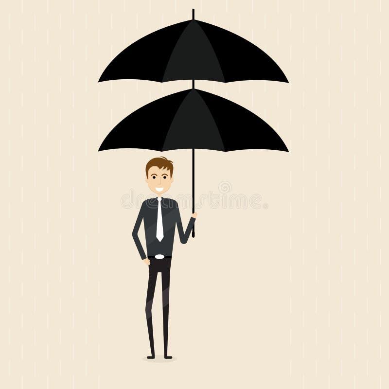 Encargado, oficinista u hombre de negocios llevando a cabo el ove doble del paraguas libre illustration