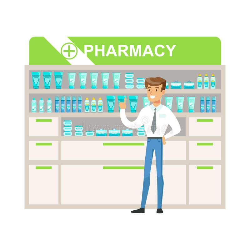 Encargado In Pharmacy Choosing del hombre y drogas y cosméticos de compra, parte del sistema de escenas de la droguería con los f ilustración del vector