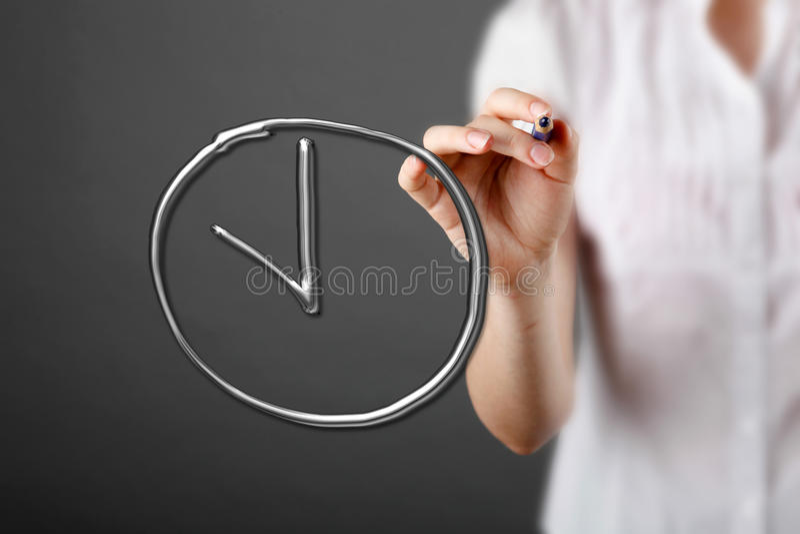 Encargado que escribe un plazo de la palabra stock de ilustración