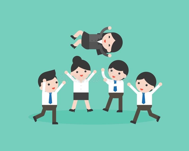 Encargado que lanza en el aire, situ del equipo lindo del hombre de negocios del negocio stock de ilustración