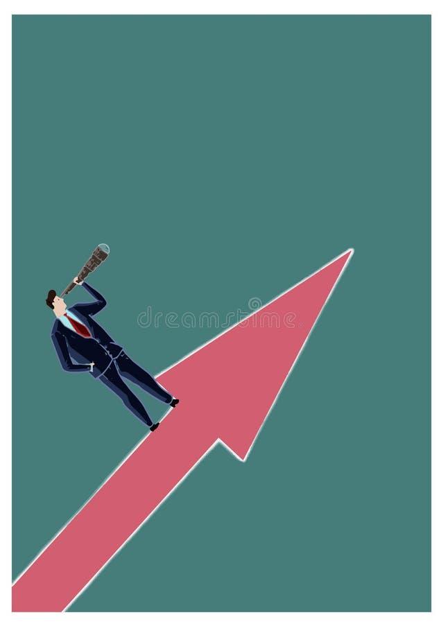 Encargado que mira hacia éxito con un catalejo, colocándose en una flecha que señala hacia arriba Representación de s económico y ilustración del vector