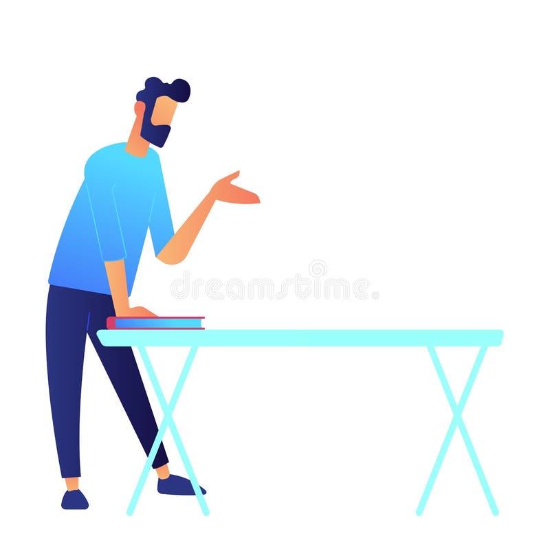 Encargado que se coloca en la tabla y el ejemplo de discurso del vector de la mano libre illustration