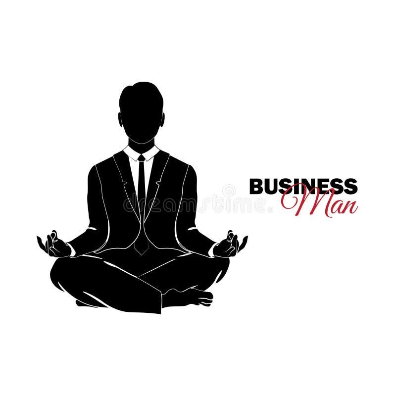 Encargado Un hombre en un juego de asunto El hombre de negocios medita ilustración del vector