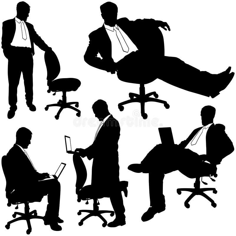 Encargado y silla del balanceo - siluetas ilustración del vector