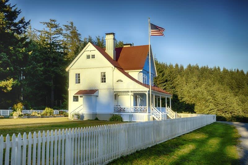 Encargados de faro casa, Oregon imagen de archivo