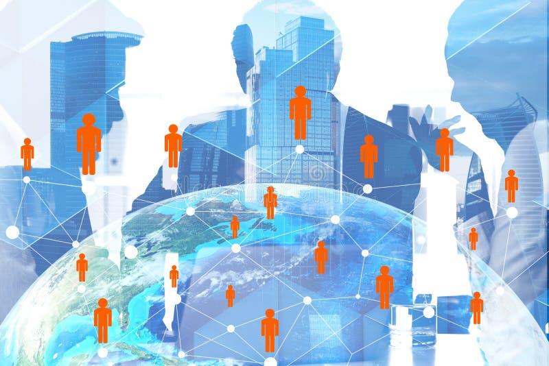 Encargados en la ciudad, red de la gente ilustración del vector