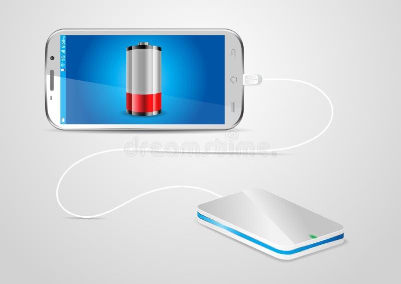 Encargar un teléfono móvil de un powerbank stock de ilustración