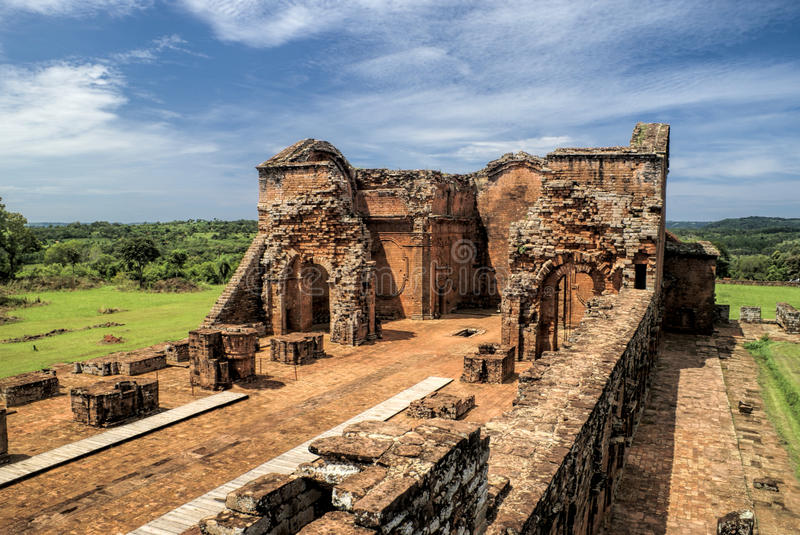Encarnacion and jesuit ruins in Paraguay royalty free stock photo
