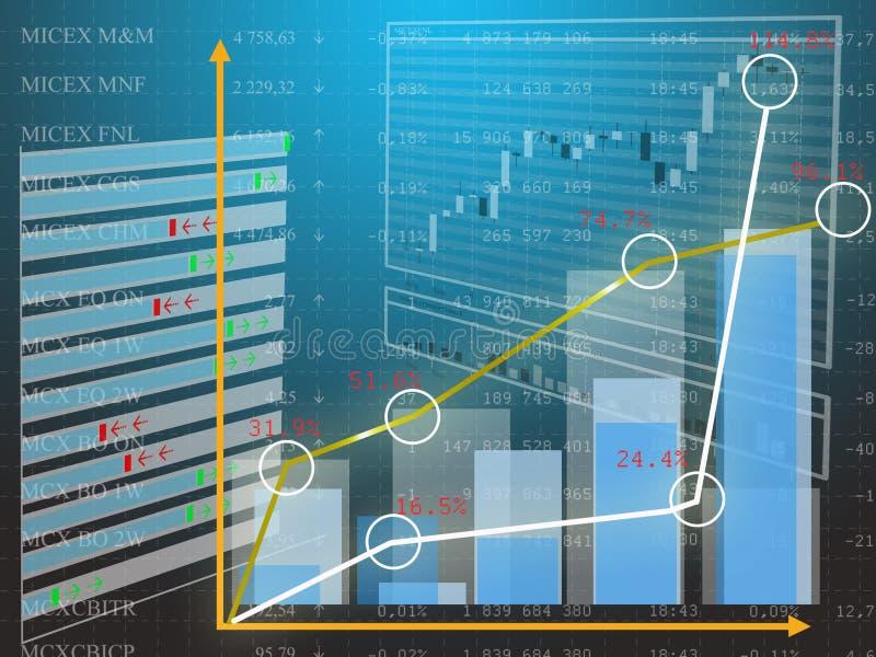 Encarregado da moeda da folha de dados em cima do mercado de finança ilustração royalty free