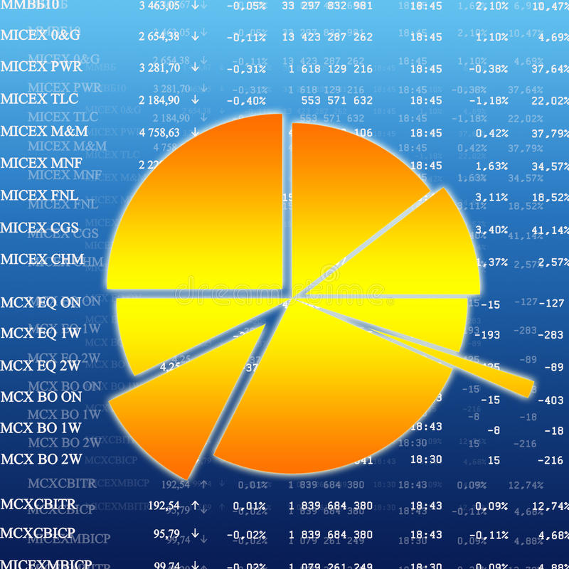 Encarregado da moeda de Diiagram em cima do mercado de finança ilustração stock