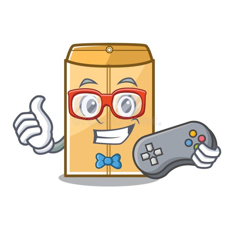 Encarregado do envio da correspond?ncia do envelope do Gamer no arm?rio da mascote ilustração stock