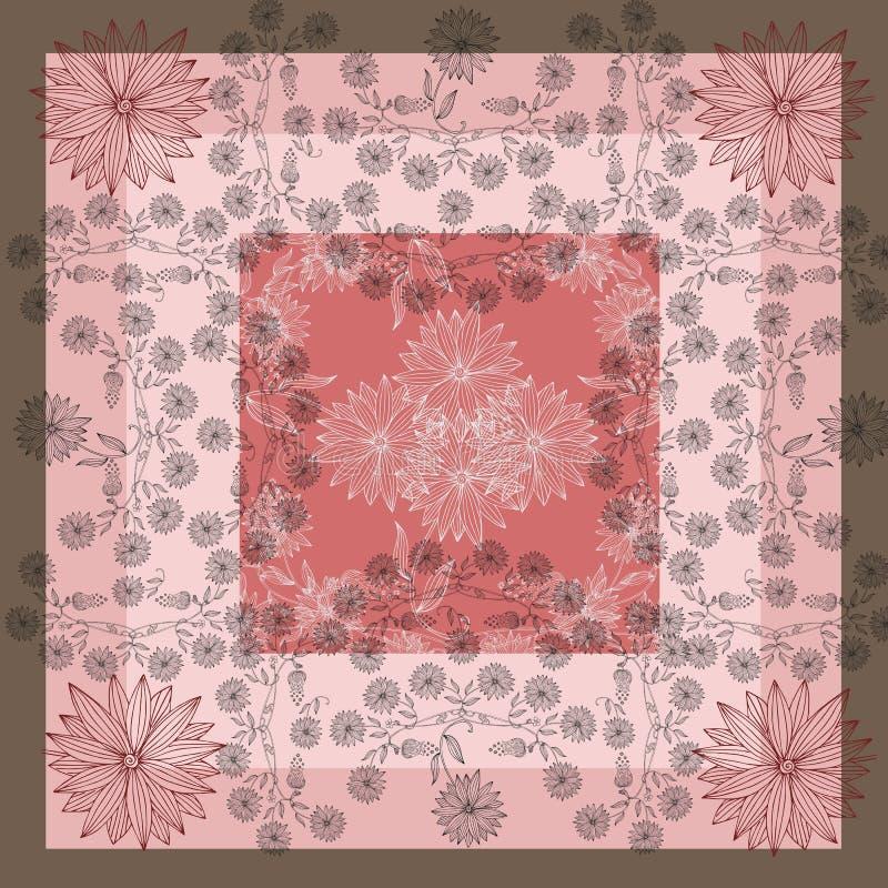 encarregado Lenço de pescoço de seda com as flores bonitas no fundo em tons cor-de-rosa ilustração royalty free