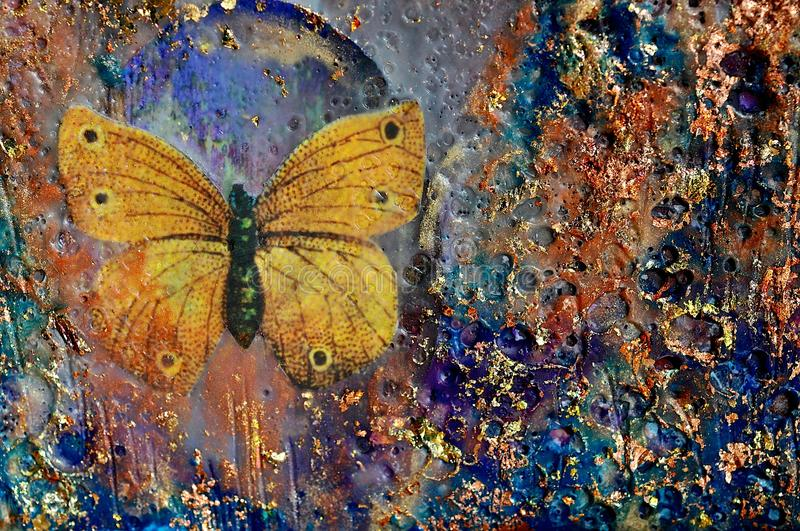 Golden Butterfly and Texture stock photos
