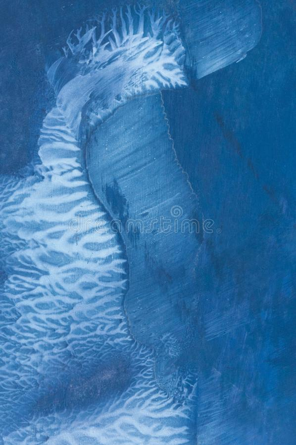 Abstract wax painting, detail. Encaustic, texture of blue and white abstract wax painting, composition image detail vector illustration
