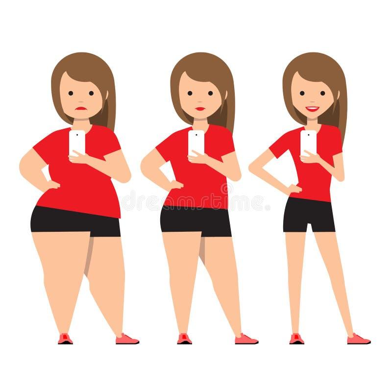 Encena a perda de peso antes e depois ilustração stock