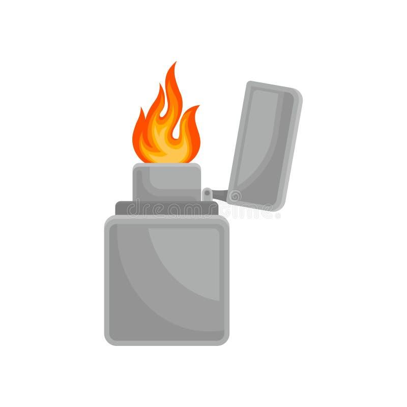 Encendedor con el ejemplo ardiente del vector de la llama en un fondo blanco libre illustration