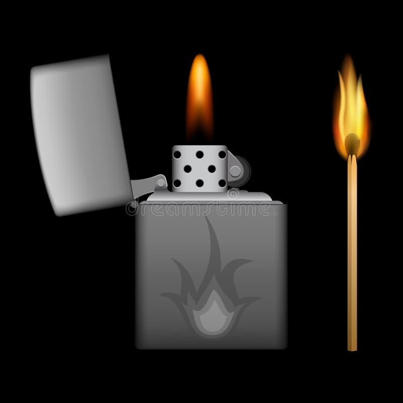Encendedor y partido ardientes del metal en fondo negro fotos de archivo libres de regalías
