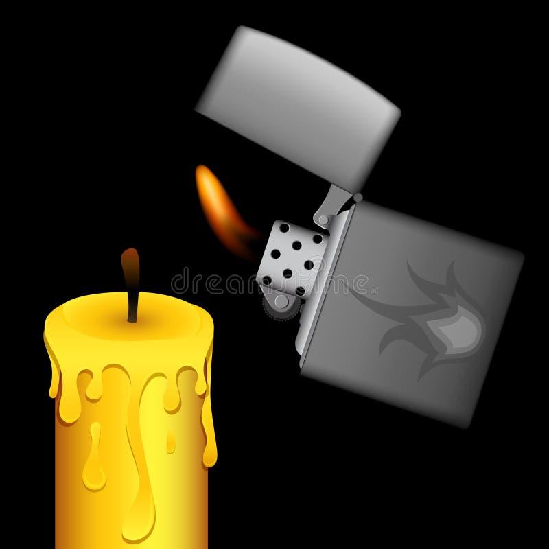 Encendedor y vela ardientes del metal en fondo negro fotografía de archivo