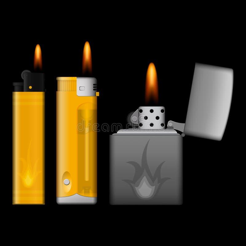 Encendedores ardientes en fondo negro fotos de archivo libres de regalías