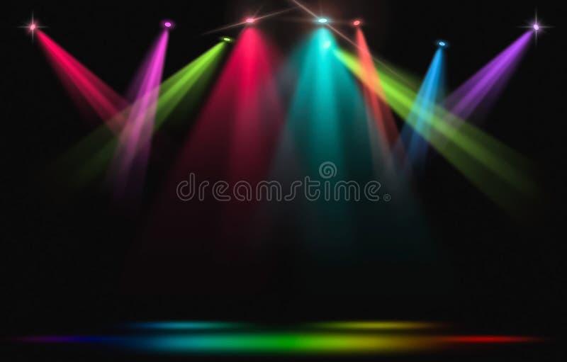 Encene luzes Greve do projetor do arco-íris com a escuridão ilustração royalty free