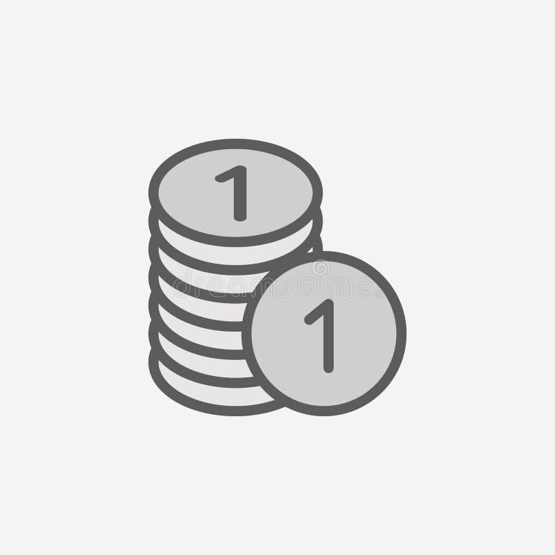 encentmynt i en symbol för högfältöversikt Beståndsdel av den enkla symbolen för 2 färg Tunn linje symbol för websitedesignen och stock illustrationer