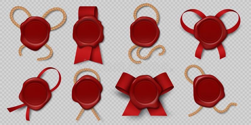 Encere el sello Sellos realistas del certificado con las cintas y las cuerdas, etiquetas reales medievales del sobre 3d Sellos va ilustración del vector