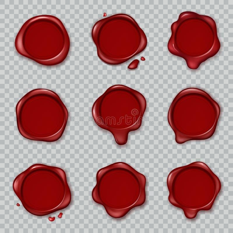 Encere o selo O vermelho velho de borracha de enceramento original dos selos do envelope do documento do vintage aprova o grupo i ilustração stock