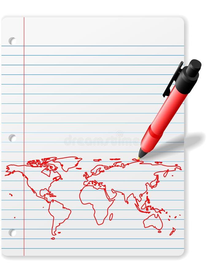 Encerre o mapa de mundo do desenho na tinta do vermelho do papel do caderno ilustração royalty free