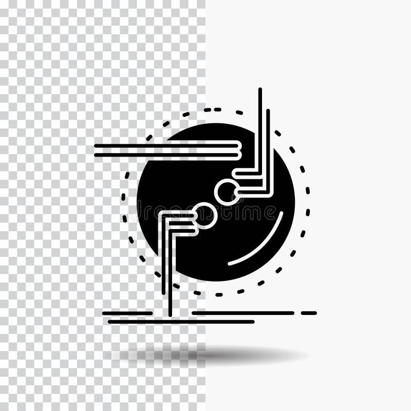 enchaînez, reliez, connexion, le lien, icône de Glyph de fil sur le fond transparent Ic?ne noire illustration stock