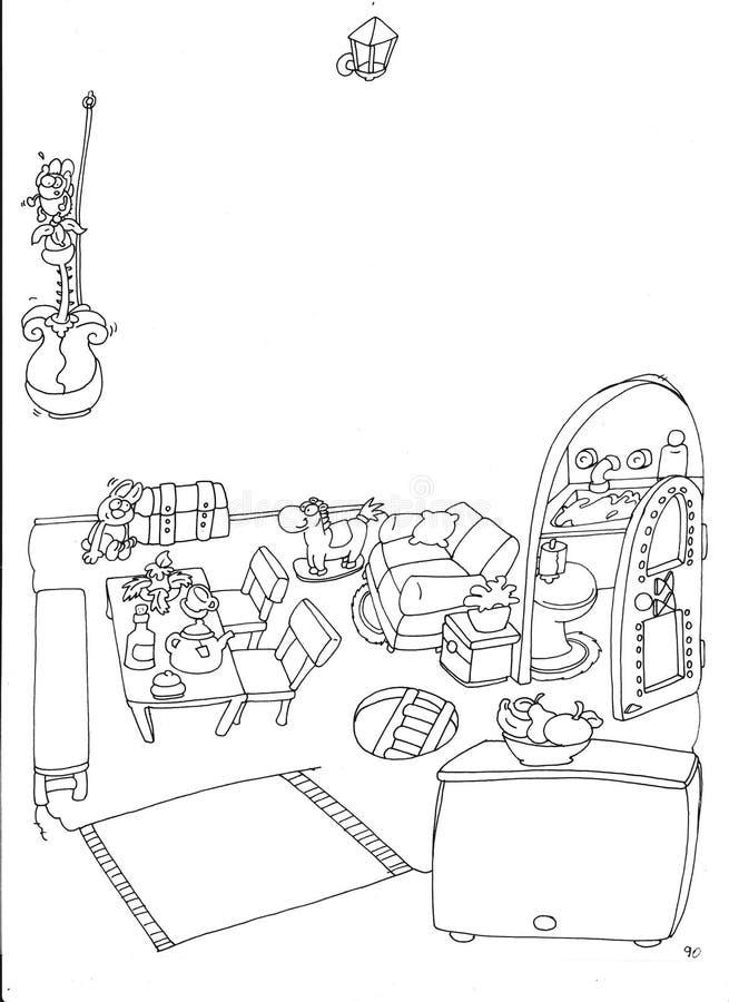 Enchanté à la maison de la coloration d'échine de gnomes pour des enfants illustration stock