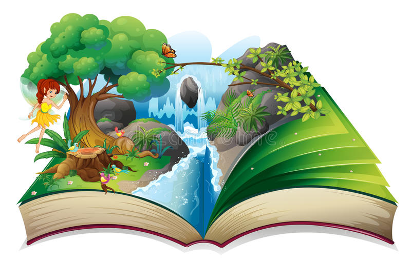 An enchanted book. Illustration of an enchanted book on a white background royalty free illustration