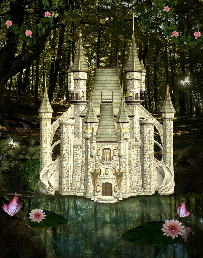 Enchanted castle. In the middle of the forest stock illustration