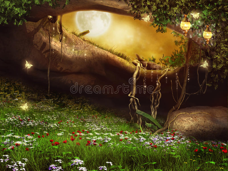 Enchanted cave with flowers stock illustration