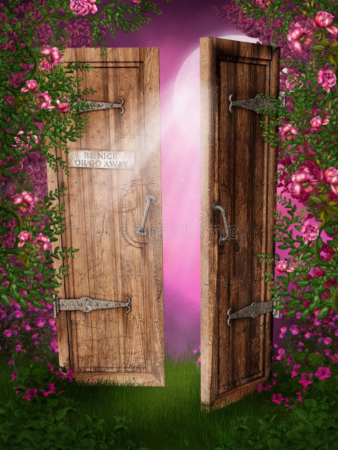 Enchanted door. In rose garden stock illustration