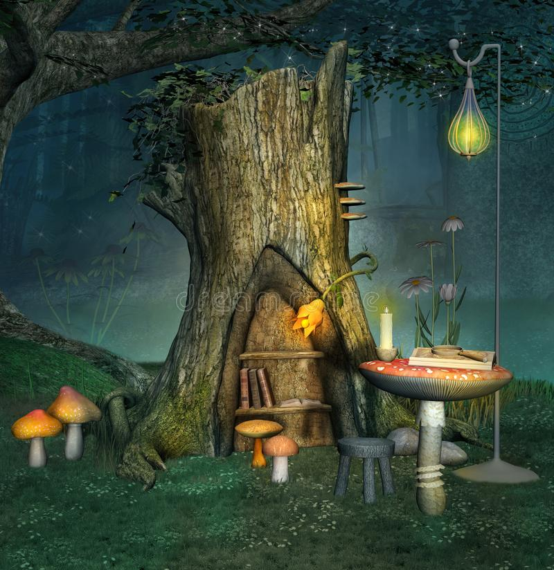 Enchanted elf place beside an old trunk. Enchanted elf place near an old trunk with lantern and books - 3D illustration royalty free illustration