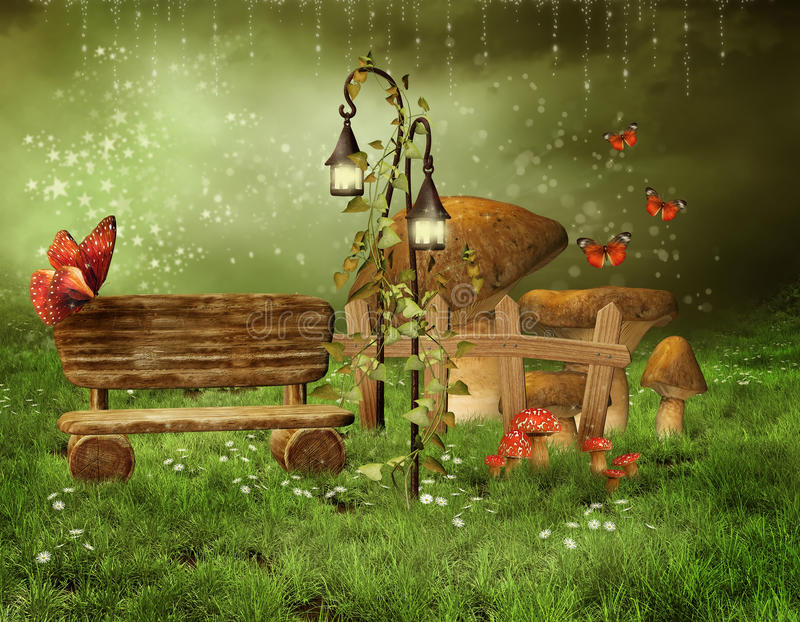 Download Enchanted Fairy Garden Stock Illustration. Image Of Bench    20546748