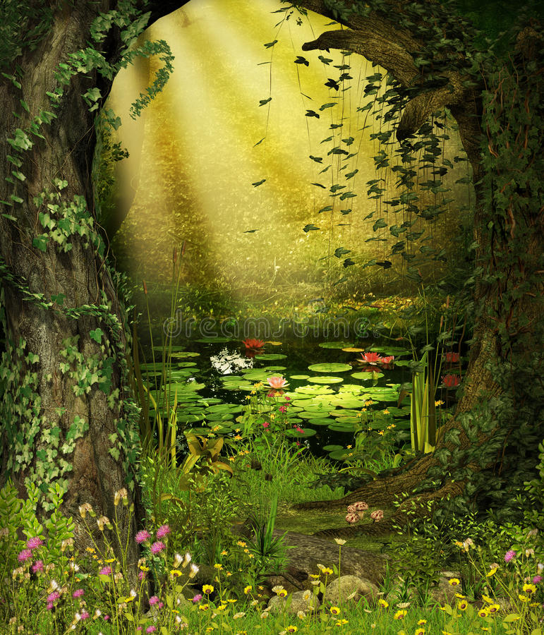 Enchanted Fairy Woods Pond vector illustration