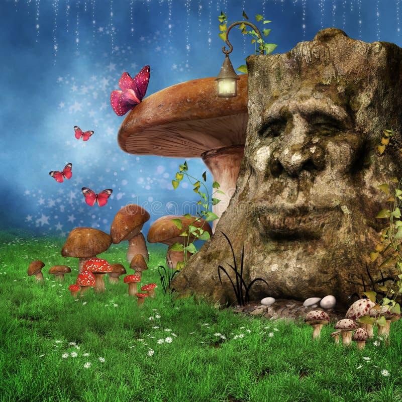 Enchanted fantasy tree royalty free illustration