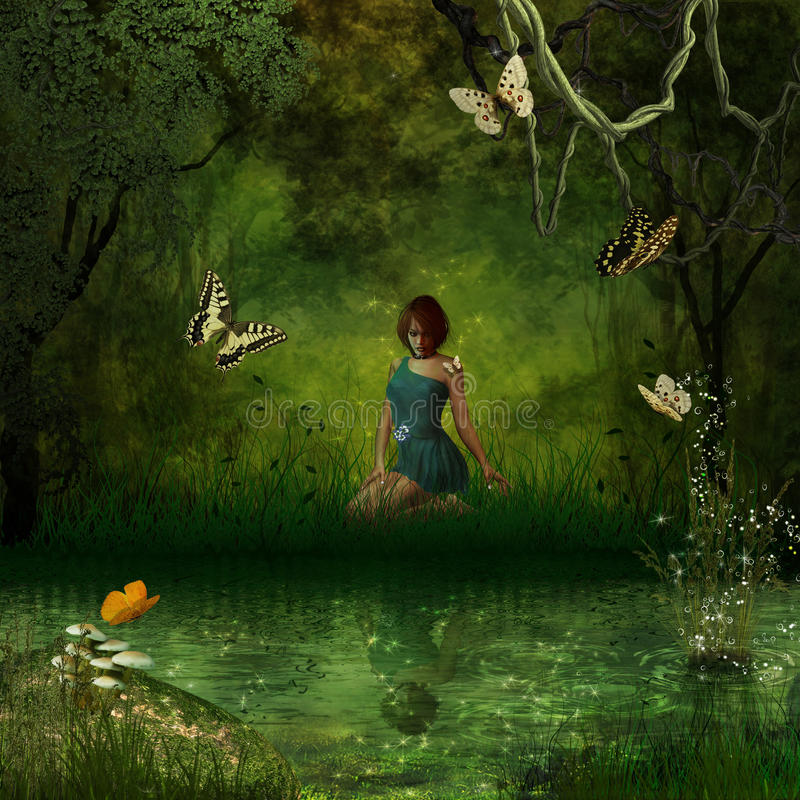 Enchanted forest. A beautiful lady is sitting on the edge of a river looking at her reflection stock illustration
