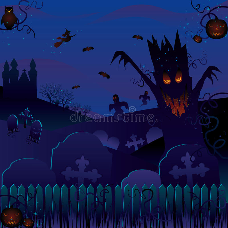 Enchanted Forest. On Halloween night stock illustration