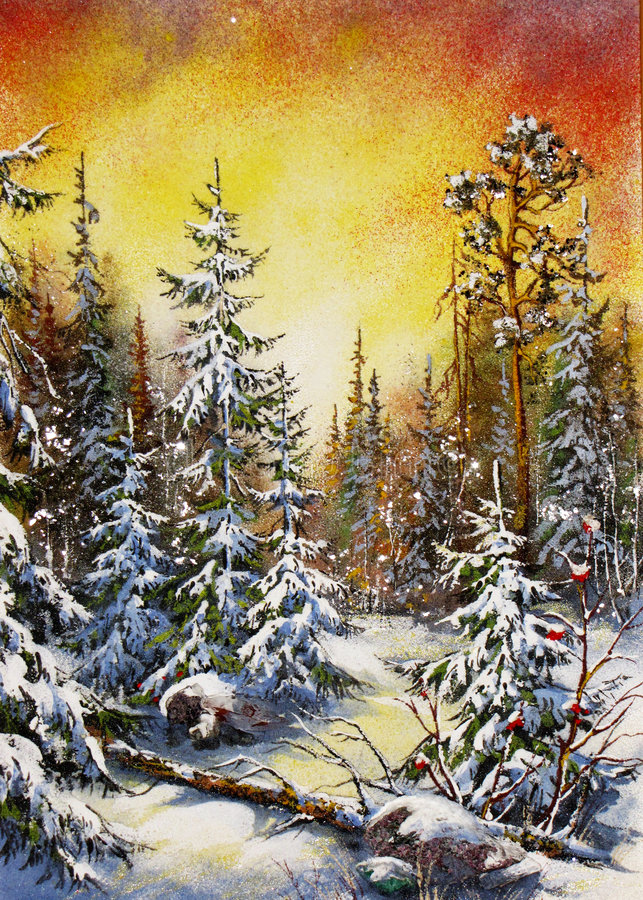 Enchanted forest. Enchanted winter forest with a fantasy atmosphere royalty free illustration