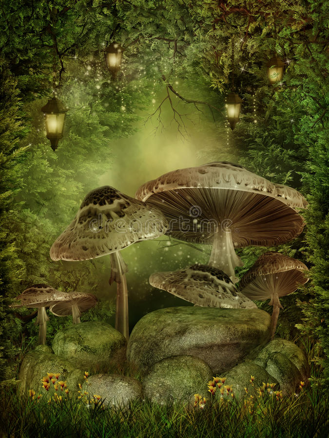Enchanted forest with mushrooms. And rocks