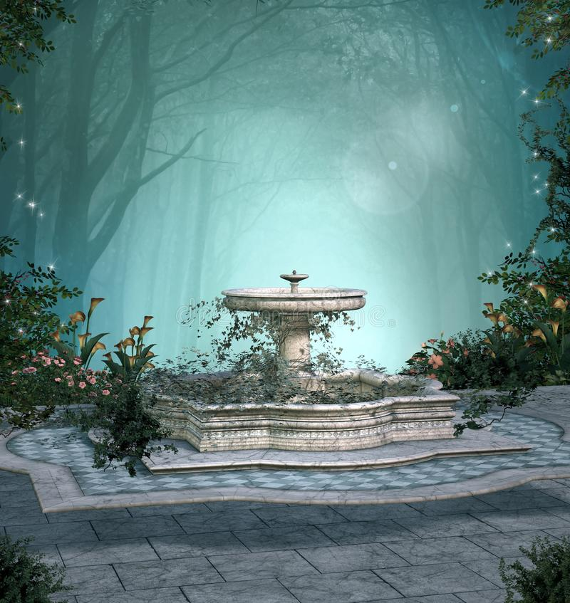 Enchanted fountain in the middle of a dark forest royalty free illustration